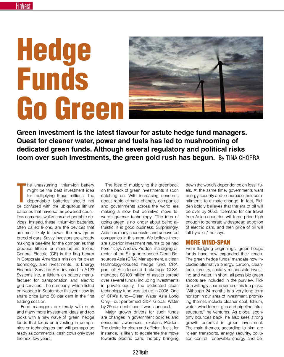 Hedge Funds Go Green