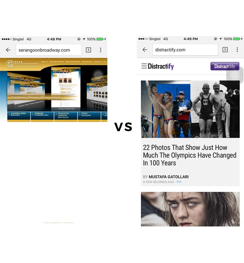 Rigid, Unresponsive Layout Website Design